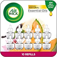 Air Wick Plug in Scented Oil 10 Refills, Summer Delights, Eco Friendly, Essential Oils, Air Freshener