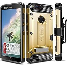ZTE Blade Z Max Case, Evocel [Explorer Series Pro] with [Glass Screen Protector] Premium Full Body [Metal Kickstand][Credit Card Slot][Holster] For ZTE Blade Z Max (Z982), Gold