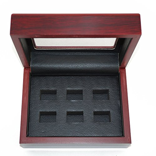 (Mehoca Championship Big Heavy Ring Display Wooden Box,Dark-red Ring Holder Display Box for World Series Stanley Cup Championship Ring(6 Holes))