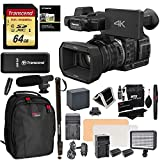 Panasonic HC X1000 4K-60p/50p Camcorder High-Powered 20x Optical Zoom & Professional Functions + Transcend 64GB + Polaroid 72'' Monopod + LED Light + Ritz Gear Backpack + Microphone + Accessory Bundle