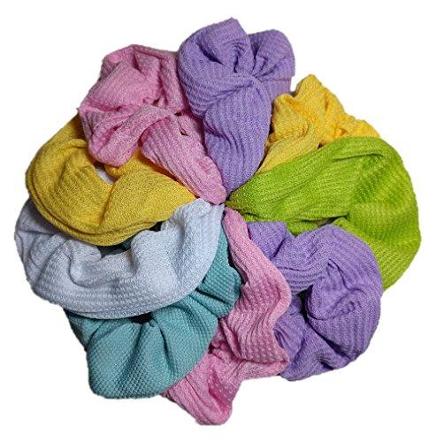 Scrunchie Set, 9 Thermal Cotton Scrunchies, 90s Style (Pastel Colors) ()
