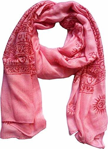 KVR OM AUM Krishna Buddha Ganesha Shiva yoga spiritual auspicious Diwali Pooja Hindu Religious Indian prayer scarf, Size 180x90 cm (Pink-Ganesh print) by KVR