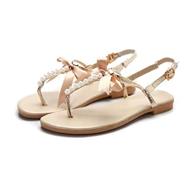 2b7d582d0af41 DanSoul Flat Sandals for Women with Pearl Satin Ribbon Flip Flop Slippers  Flat Beach Sandals for