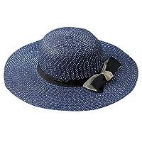 Geetobby Womens Big Bowknot Straw Hat Wide Brim Floppy Beach Sun Cap Adjustable Sun Hat for Women UPF 50+