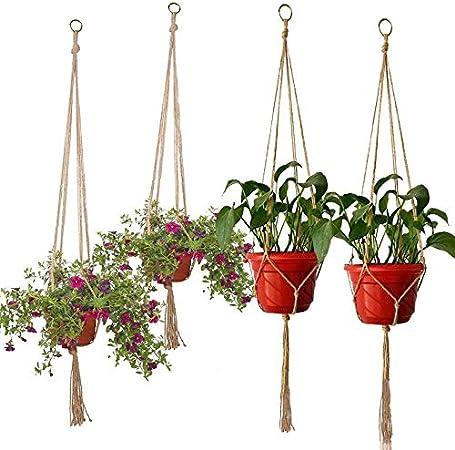 Ouzhoub Makramee Betriebsaufhanger Hanging Planter Basket Korbe Flechten Craft Home Decor Blumentopf Halter Wand Garten Dekoration Color 122cm Amazon De Kuche Haushalt