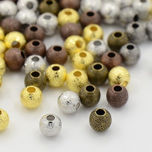 100 Solid Brass Assorted Brushed Stardust Glitter Beads- Metal Spacer - Jewelry Making (4mm, (Stardust Spacer)