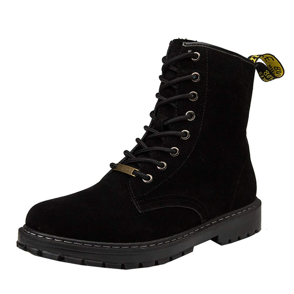 KUIBU Mens Lace up Anti-Slip Ankle Waterproof Snow Hiking Boots Warm Fur Lined Winter Warm Shoes