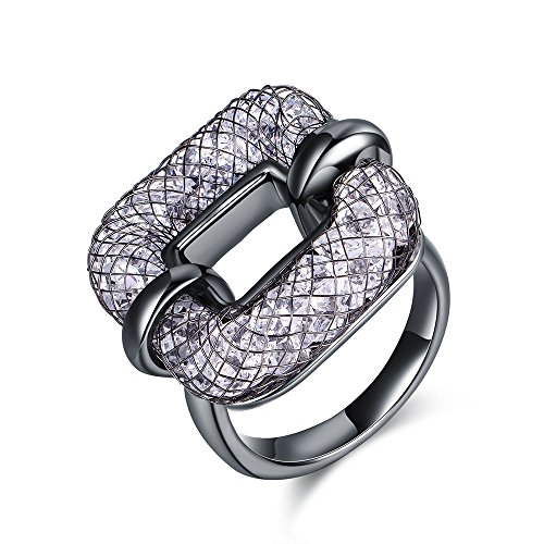 Mytys Costume Jewelry Fashion Black Alloy Mesh Crystal Cocktail Statement Rings for Women(10)
