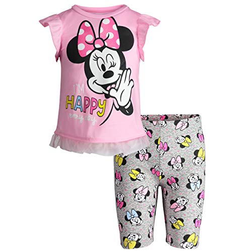 Disney Minnie Mouse Toddler Girls High-Low Ruffle Tunic & Bike Shorts Outfit Set (Light Pink, 2T) -