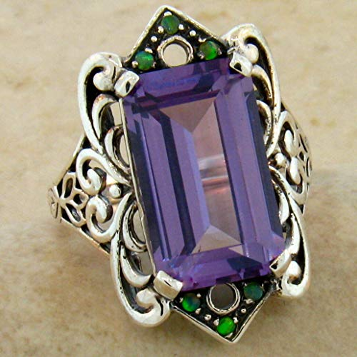 (8 CT. LAB Alexandrite Color Changing Antique Design 925 Silver Ring Sz 9.75 KN-3142)