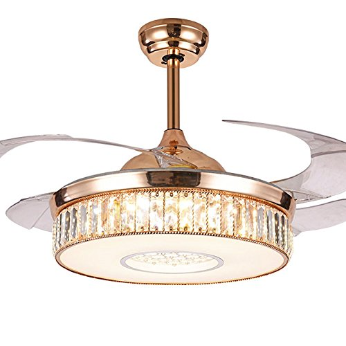Dimmable Reversible Crystal Ceiling Fan Light with Remote Control Three-color Change Retractable Fan Ceiling Chandelier Lighting Rose Gold 42 inch