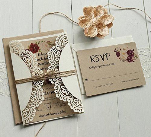 Off White Lace Wedding Invitations Set RSVP Cards Included Rustic Kraft Paper Invitation Cards - Set of 50 pcs (Customized Invitations) by Picky Bride (Image #4)