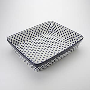 Polish Pottery Large Lasagne Dish – Small Blue Dot – 32cm x 26cm