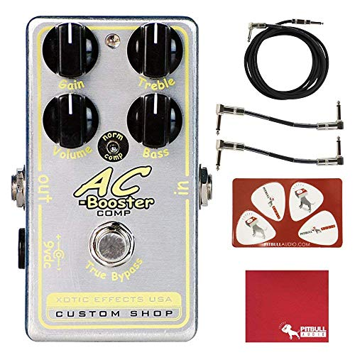 Effects Booster Ac Xotic (Xotic Effects AC Booster Comp Boost Overdrive Pedal with Polish Cloth, Pick Card, Patch Cables, and 10 ft Cable)