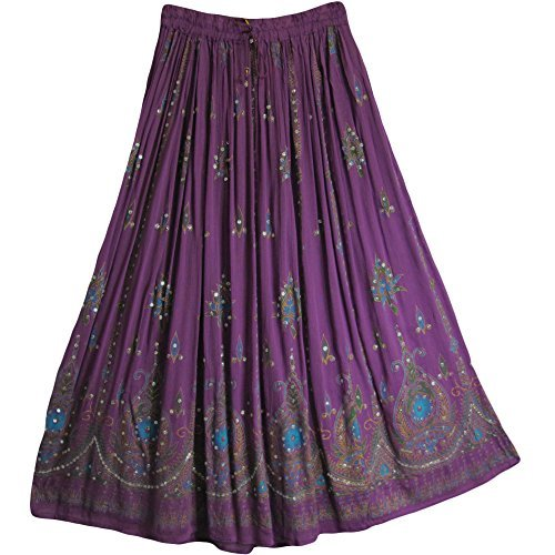 (Yoga Trendz Womens Indian Sequin Crinkle Broomstick Gypsy Long Skirt)
