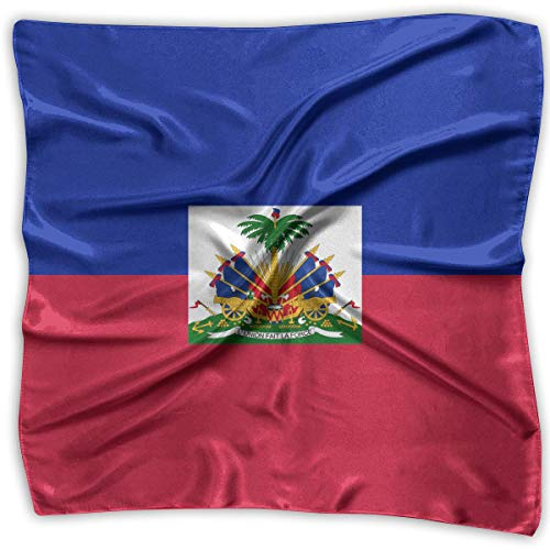 Haitian Flag 100% Polyester Silk Feeling Large Square Kerchief Neck Scarf Women Headdress ()