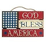 God Bless America Wood Sign Vintage Door/Wall Hanger American Flag Wood Wall Hanging Fourth of July decor, Americana decor