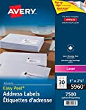 "Avery Address Labels with Easy Peel for Laser Printers, 1"" x 2-5/8"", White, Rectangle, 7500 Labels, Permanent (5960) Made in Canada"
