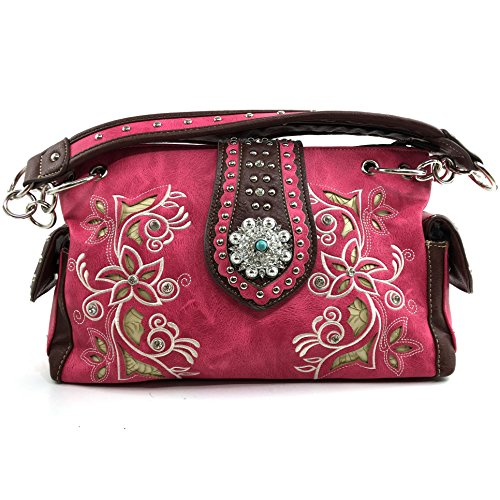 Justin West Embroidery Floral Turquoise Rhinestone Concho Laser Cut Tooled Leather Western Shoulder Concealed Carry Handbag Purse (Hot Pink Purse)