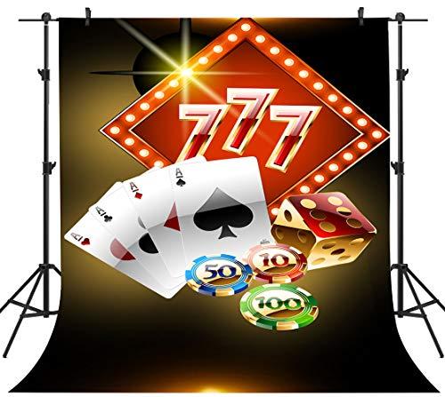PHMOJEN Casino Theme Party Photography Backdrop Poker Dice Chip 777 Background Vinyl 5x7ft Photo Studio Props HXPH128