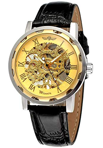 (Men's Mechanical Elegant Skeleton Dial Wrist Watch,)