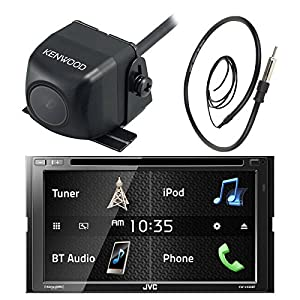 JVC KW-V430BT 7 Inch Double Din Car CD DVD USB Bluetooth Stereo Receiver Bundle Combo with Kenwood Rearview Wide Angle View Backup Camera, Enrock 22 AM/FM Radio Antenna