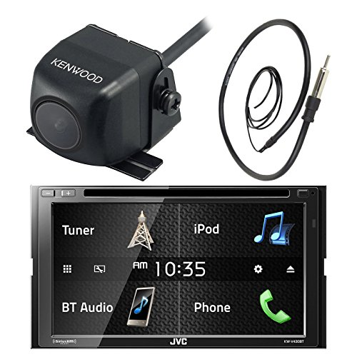 Quad Band Bluetooth Camera Phone (JVC KW-V430BT 7 Inch Double Din Car CD DVD USB Bluetooth Stereo Receiver Bundle Combo with Kenwood Rearview Wide Angle View Backup Camera, Enrock 22 AM/FM Radio Antenna)