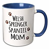 3dRose InspirationzStore Pet designs - Welsh Springer Spaniel Dog Mom - Doggie by breed - brown paw prints doggy lover pet owner mama love - 11oz Two-Tone Blue Mug (mug_154213_6)