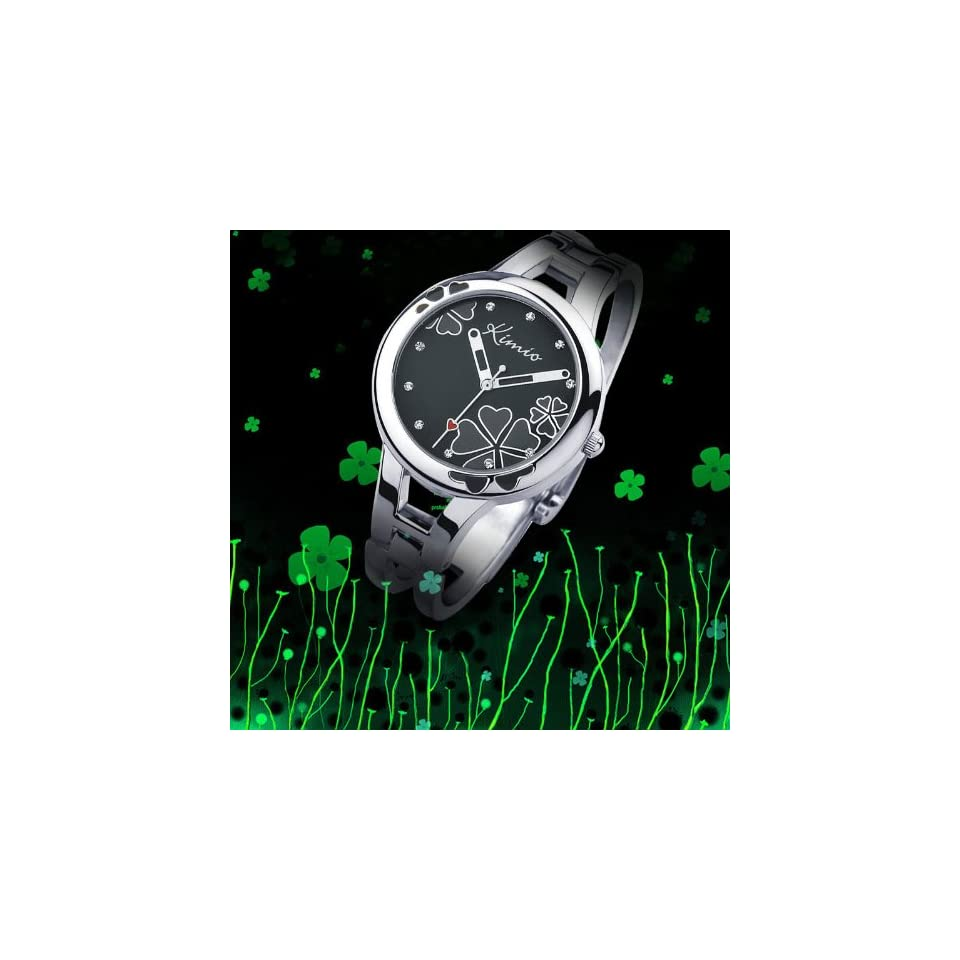Fashion Cool Black Lady Bracelet Watch Simple Stylish Four leaf Clover Surface Design High quality alloy strap Japanese Movement Pointer Display WK425L