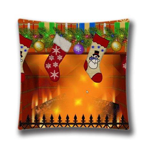 Cute Halloween Screensaver (Christmas Fireplace Screensaver Pattern Design Throw Pillow Case Cushion Cover Home Sofa Decorative 18x18 Inch(2 Sides))