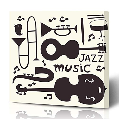 - Ahawoso Canvas Prints Wall Art 12x16 Inches Drawn Music Jazz Musical Instruments Abstract Funny Vintage Trumpet Blues Guitar Trombone Swing Decor for Living Room Office Bedroom