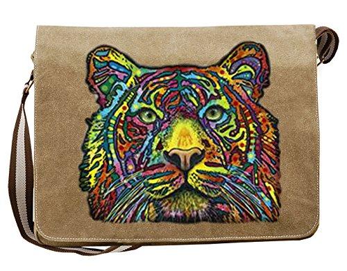 Umhängetasche/Tasche-Vintagelook mit Wildkatzen-Neon-Druck: Tiger cooler Look