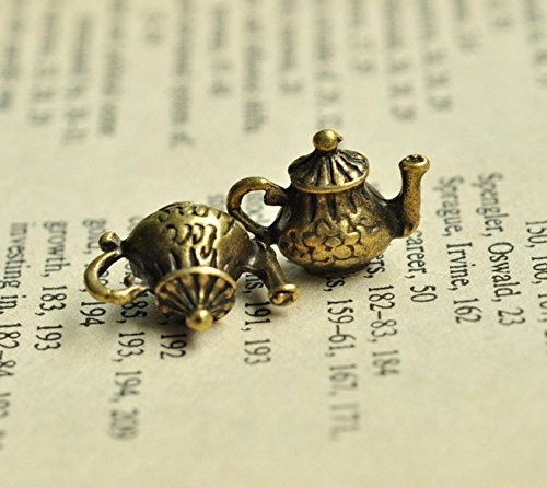 12 Bronze Teapot Charms 16x12mm Antique Brass Tone Metal (Bronze) Teapot Double Sided Charm (CB060)