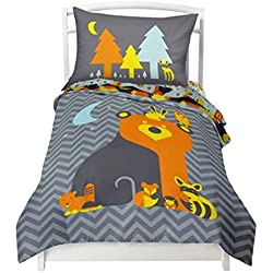 "Twin Reversible Woodland Creatures Duvet Cover Set with 1 Reversible Pillowcase for Kids Bedding -Double Brushed Ultra Microfiber Luxury Bed Sheet Set By Where The Polka Dots Roam (66"" L X 86"" W)"