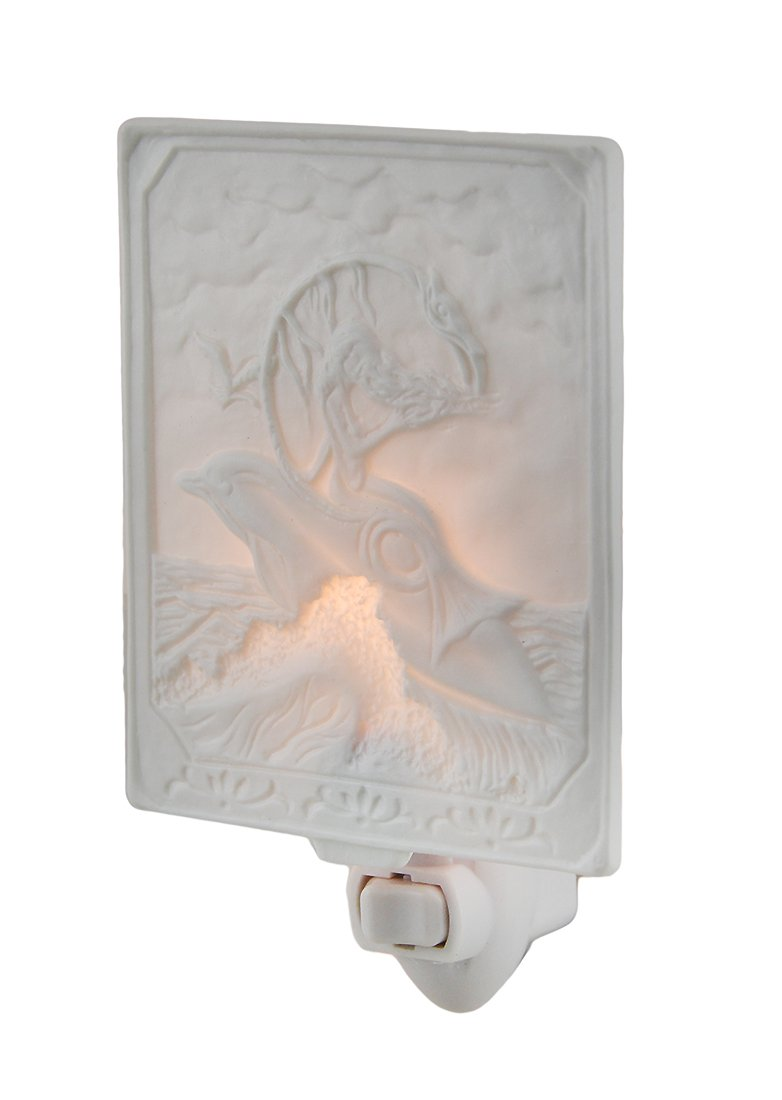 Porcelain Night Lights White Porcelain Mermaid On Dolphin Night Light 3.75 X 4.5 X 0.13 Inches White
