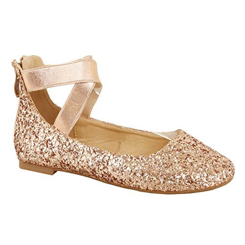 Guilty Schuhe Damen Classic Comfort Elastic Crossing Straps - Stretchy Ballerina Ballerinas Schuhe Cham Glitter