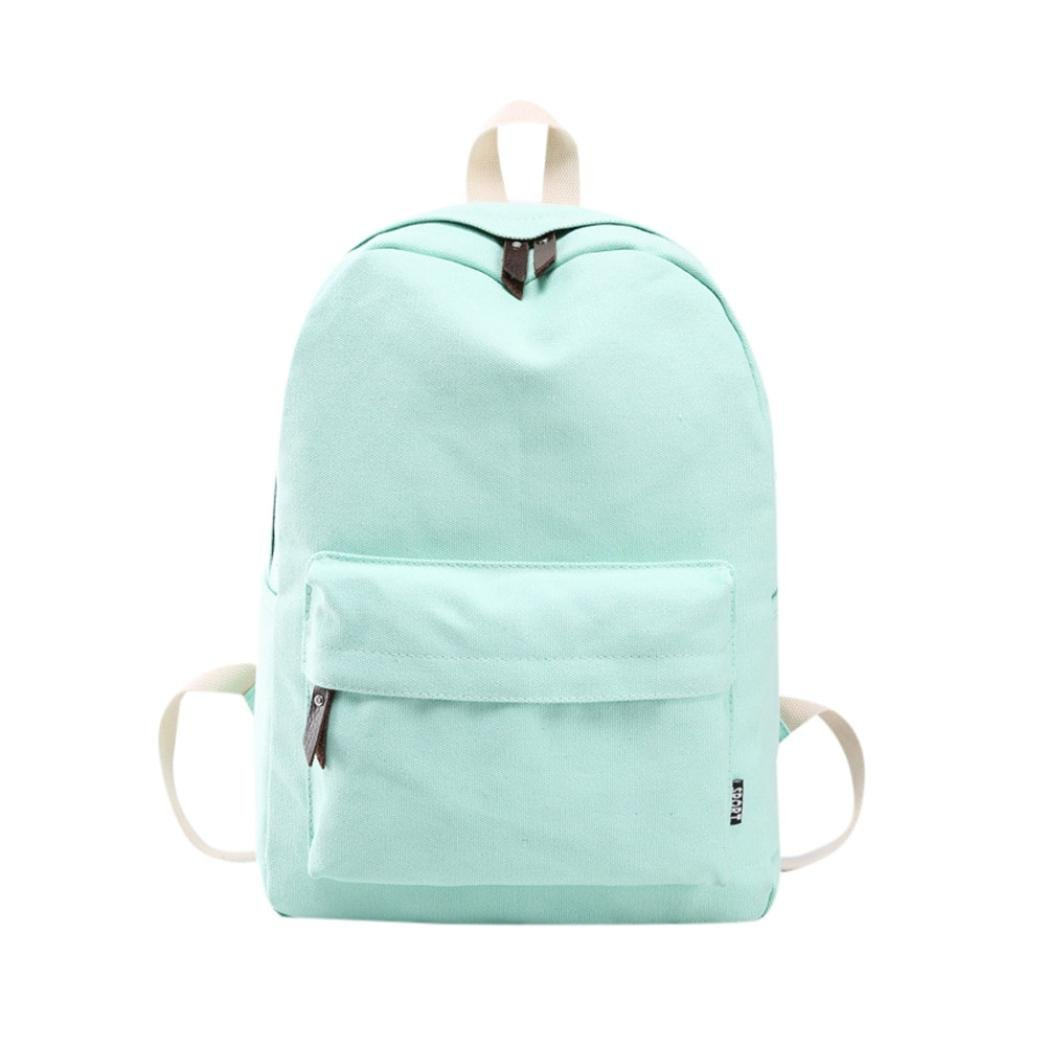 Outsta Women Girls Backpack Bag, Canvas Preppy Shoulder Bookbags School Travel Lightweight Classic Basic Water Resistant Backpack Fashion (Mint Green)