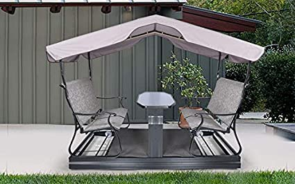 Unique360 Rocking Rattan and Wicker Garden Set with Middle Table Family Out Door