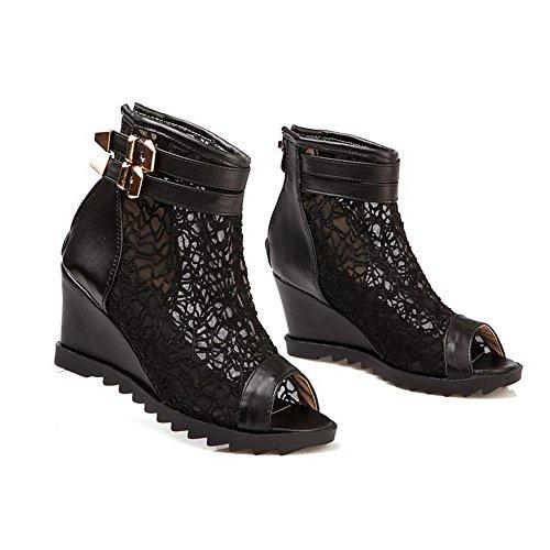 AllhqFashion Womens Soft Material Open Toe Kitten Heels Zipper Solid Sandals Black iEctdA5