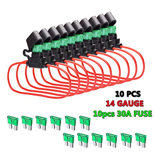 FICBOX 10 Pack Car In-line Fuse Holder 14 AWG Wiring Harness ATC/ATO Blade Automotive Fuse Holder with 10pcs 30A Standard Fuse