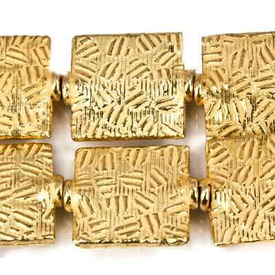 12mm 22kt Gold Plated Copper Crosshatch Embossed Square Beads, 8 inch ()