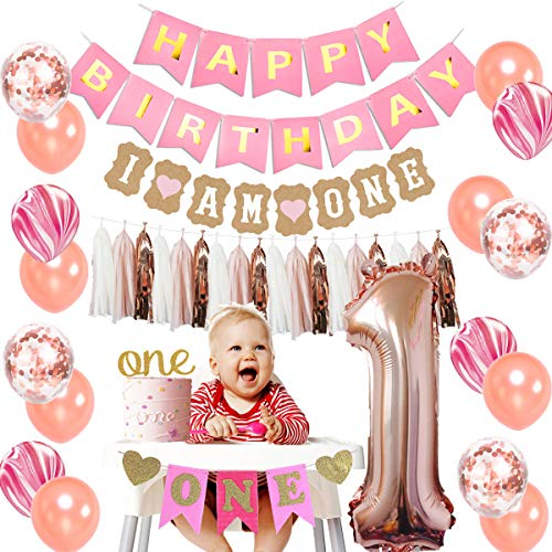 JOYMEMO Rose Gold 1st Birthday Decorations for Girls with I Am One Banner, Number Foil Balloons, High Chair Banner and Marble Balloons