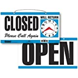 Headline Sign 9395 Double-Sided Open/Closed/Will Return Sign with Clock Hands, 6 Inches by 11.5 Inches