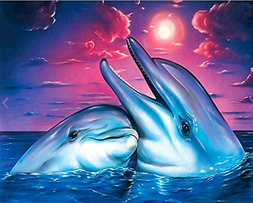 Wall Decor,RNTOP_Home Decor Love Dolphins Cute Paintings 5D DIY Diamond Painting Embroidery Cross Craft Home Decor Sticker Art Cross Stitch For Wall Plane Wall Sticker (C)