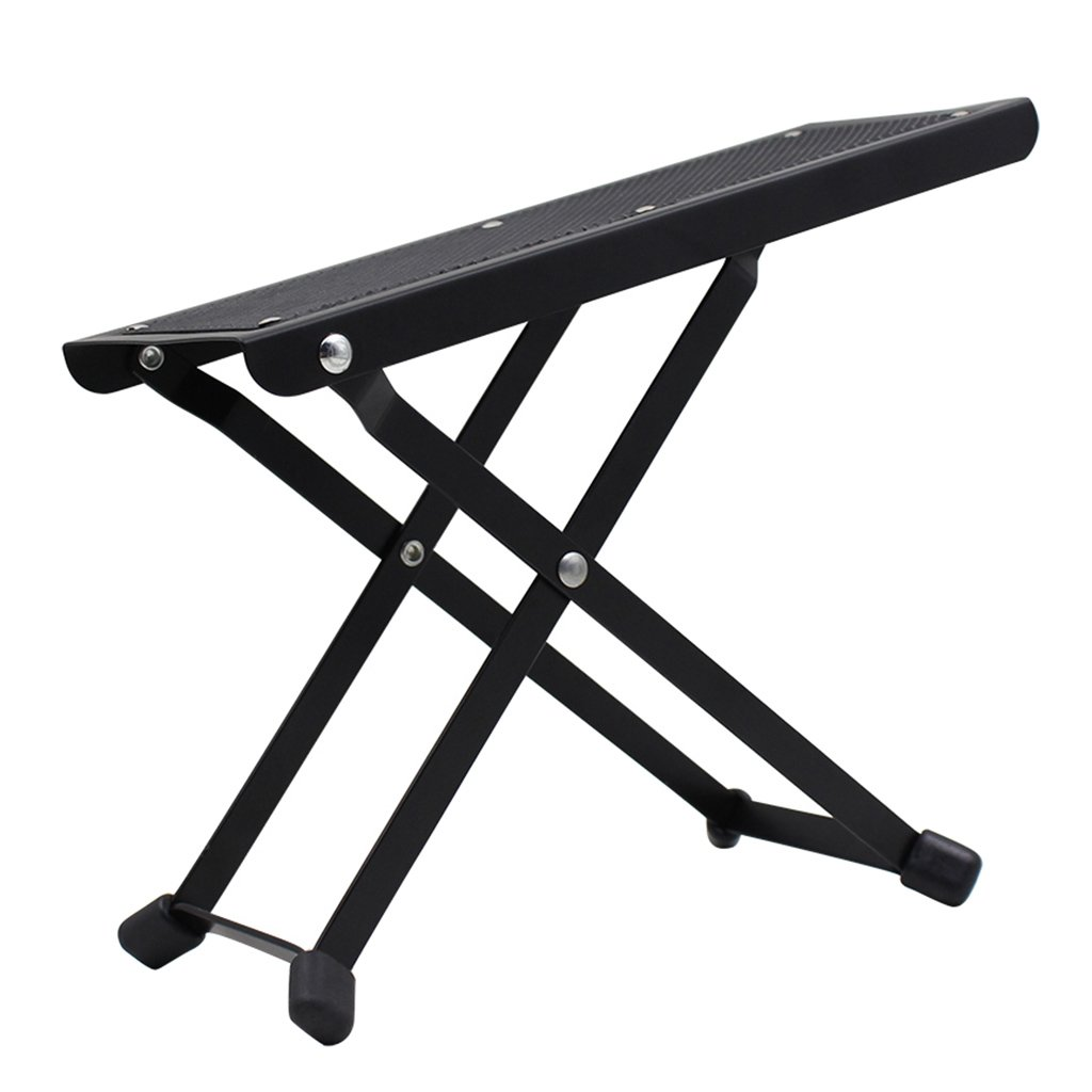 MonkeyJack Durable Folding Metal Guitar Foot Rest Stage Anti-slip Foot Stand for Guitarist Black