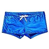 "Freebily Men's Shiny Patent Leather Drawstring Lounge Underwear Boxer Shorts Blue Medium(Waist:31.5-38.5""/80-98cm)"