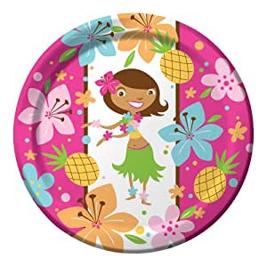 Creative Converting Pink Luau Fun 8 Count Paper Dinner Plates