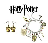 Harry Potter Bracelet and Earrings Gryffindor House Crests 2 Pack Gift Set Logo Character Theme Cosplay Jewelry Gift Series
