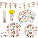 "Animal Party Supplies Decorations Animal-Themed Jungle theme Zoo Pets Dinnerware 169 Pcs Serves 24 Includes 7""&9"" Paper Plates Napkins Straws Knives Forks Cups Banner For Birthday, Animals Themed Parties, Serves 24"