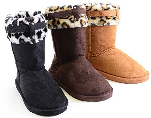 fourever Funky Damen Vegan Wildleder Leopard Manschette Furry Schnalle flach warme Stiefel, Braun - C-Brown - Größe: 39 EU (M)
